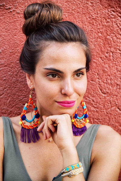 Orange Lapa Earrings