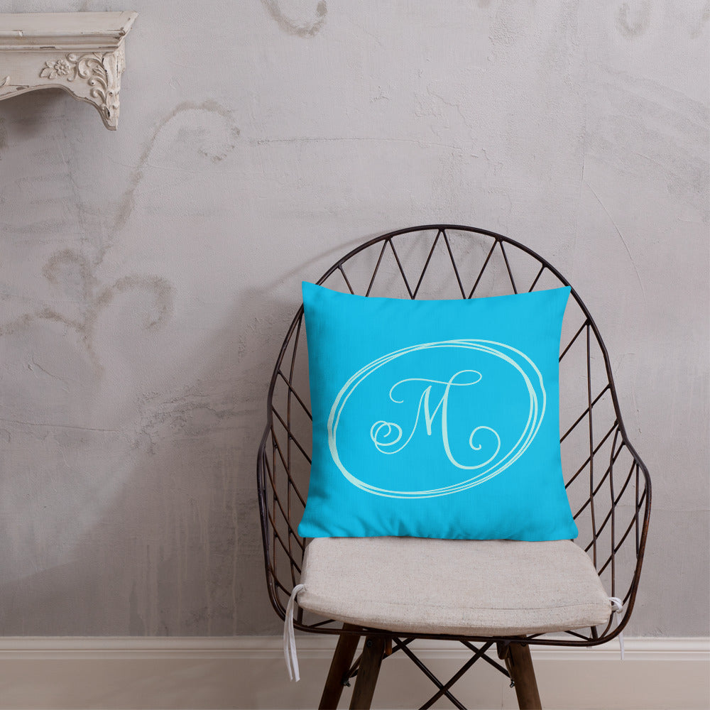 Modern Calligraphy Capital M Fancy, Turquoise Background, Light Blue M and Ovals, Custom Premium Pillow