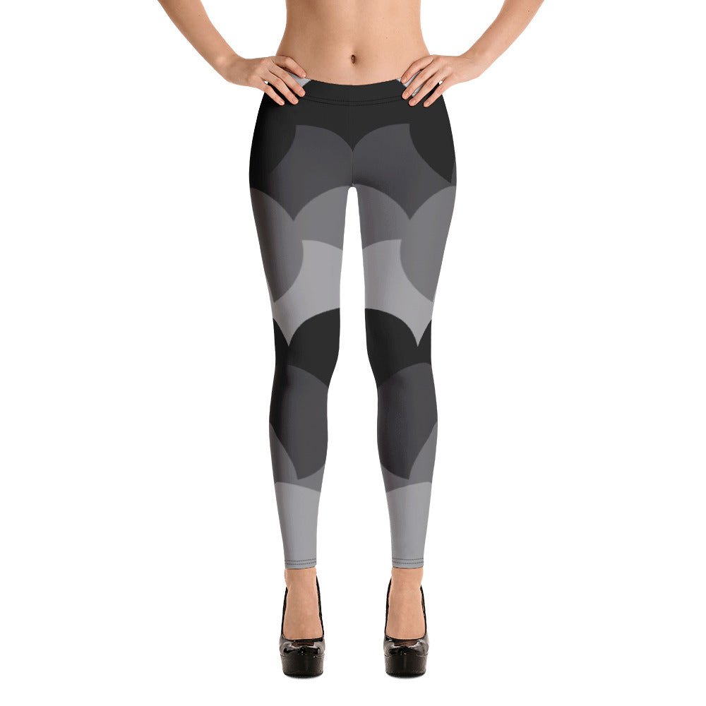 Crista Graphic Leggings in Black and Grays with Curves, Statement Leggings, Funky Leggings, Bold Leggings