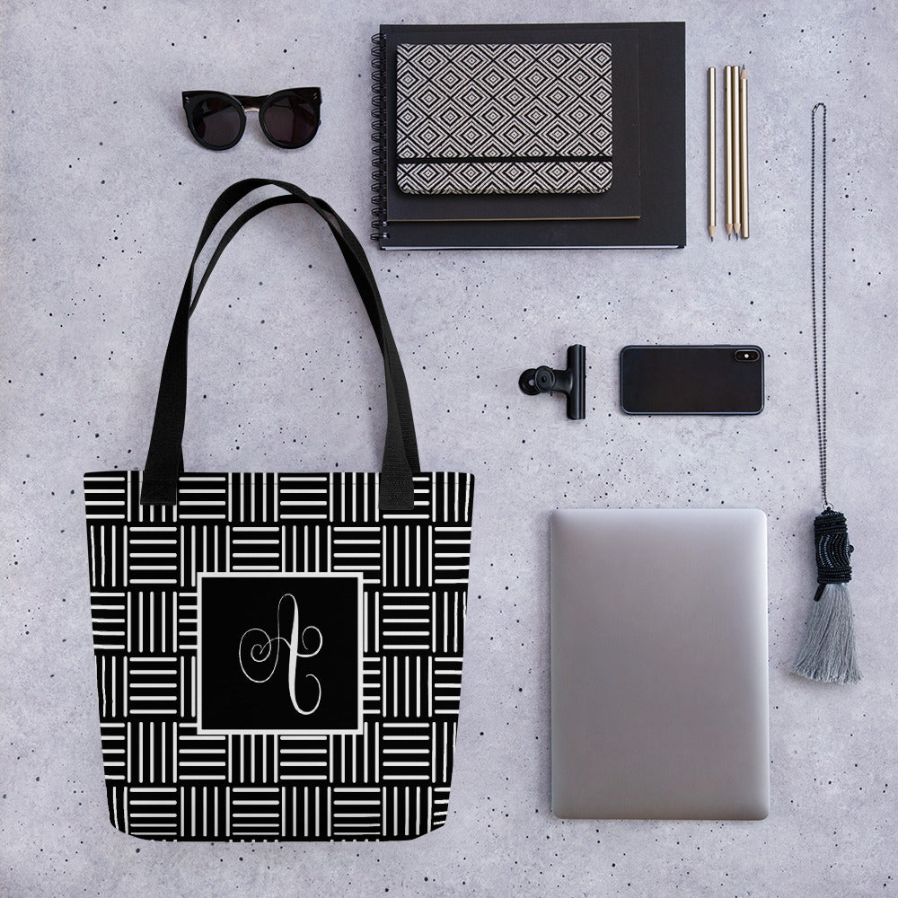 Black White Tote Bag, Basket Weave Pattern Tote with Letter A, Modern Calligraphy Letter A Tote, Tote Bag with Letter A, Handwritten A, Geometric Black White Tote