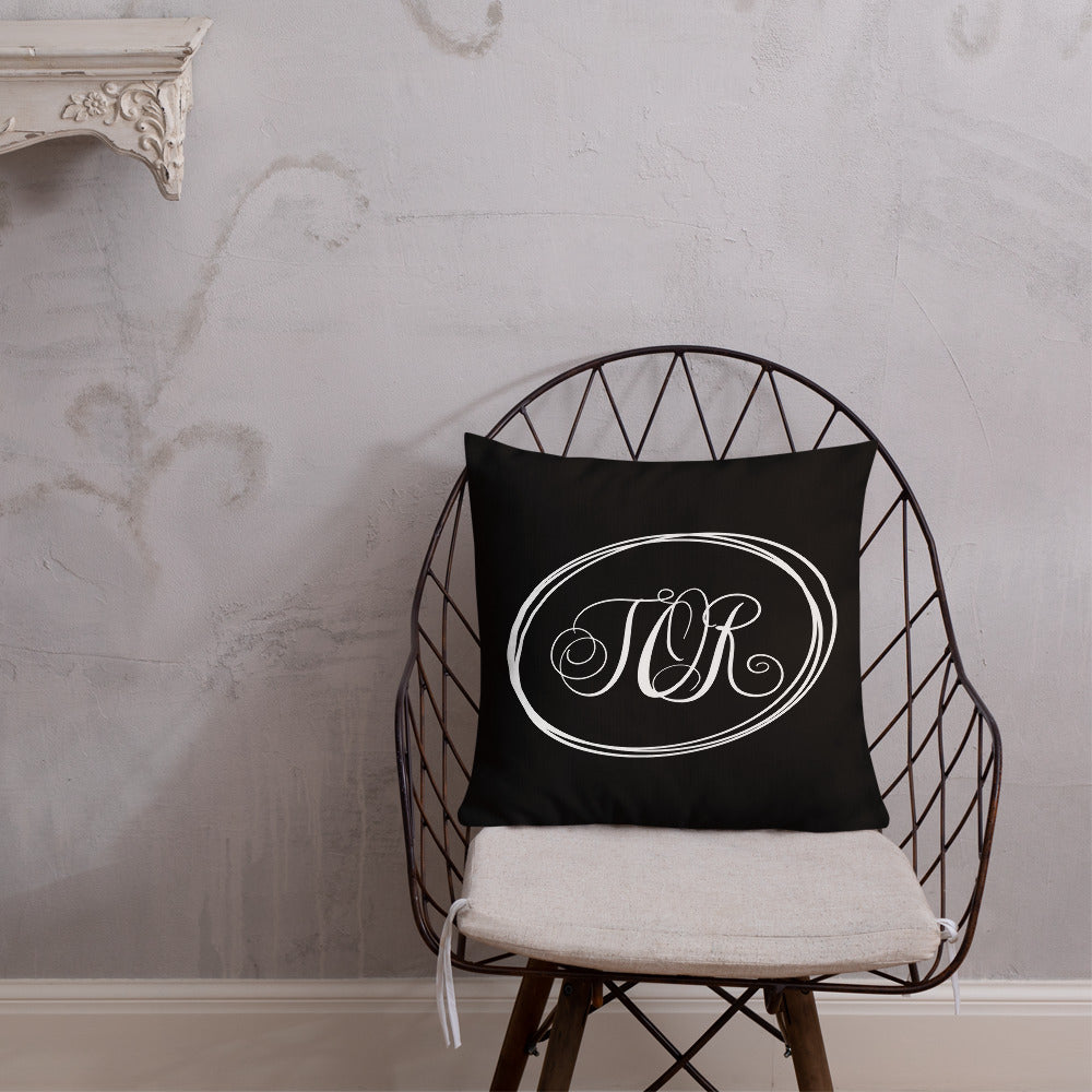 Modern Calligraphy Monogram TOR, Fancy Script Monogram, Black Pillow, White Letters Ovals, Custom Premium Pillow