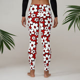 Jubee Funky White Daisies Black Outline Red Background--Womens Leggings