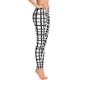 Kiki Uneven Grid Leggings--Black with White and White with Black Contrast Leg