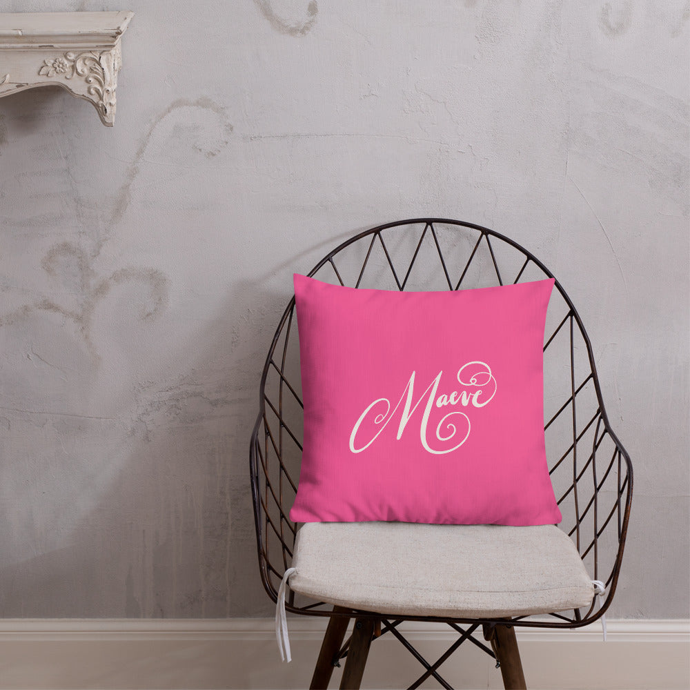 Maeve Fancy M Modern Calligraphy Pink Background Off White Text Custom Premium Pillow