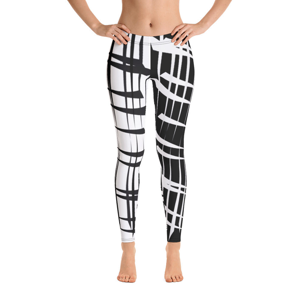 Amila Claws Print Leggings--Black with White and White with Black Contrast Leg