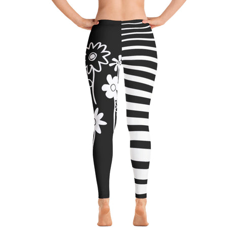 Malah Contrast Leg Leggings--Nalah Print with Big Funky Flowers and Uneven Stripes Contrast Leg