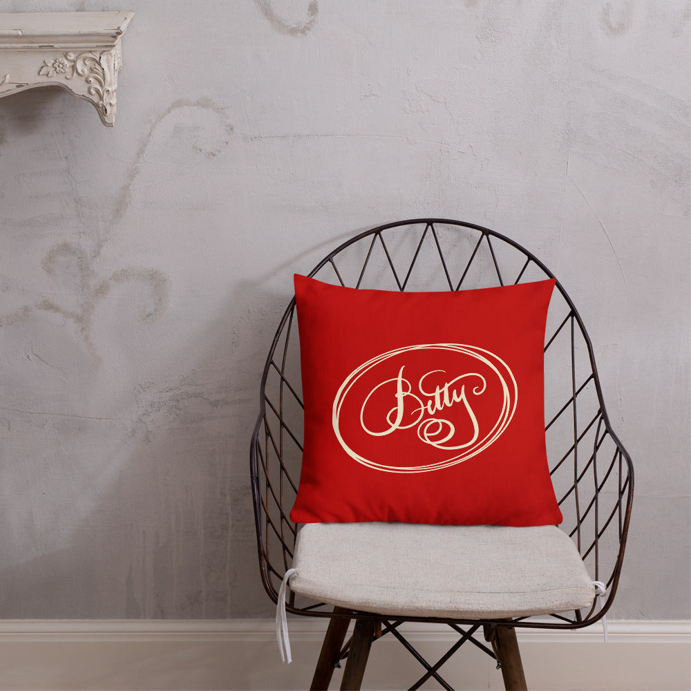 Modern Calligraphy Betty Fancy Cream on Red Cream Ovals Custom Premium Pillow