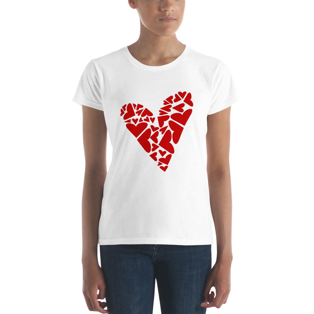 Heart Puzzle with Big and Small Asymmetrical Red Hearts--Women's short sleeve t-shirt