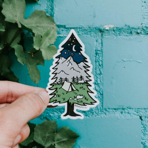Camping Tree Sticker