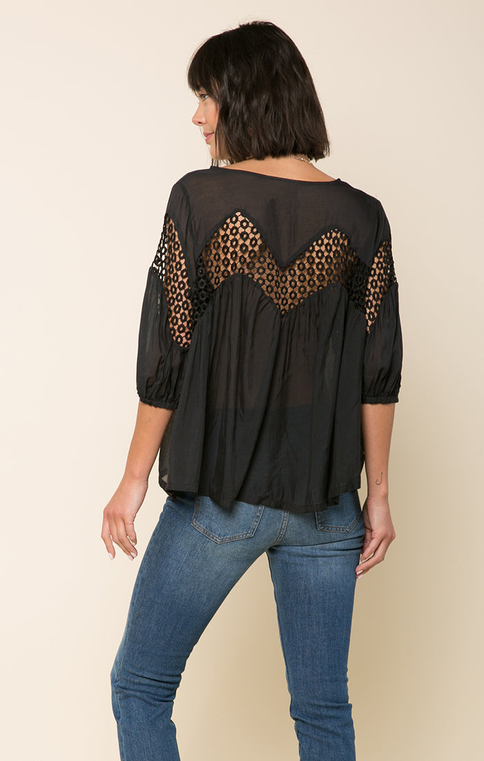 Annalise Crochet Button Down Top