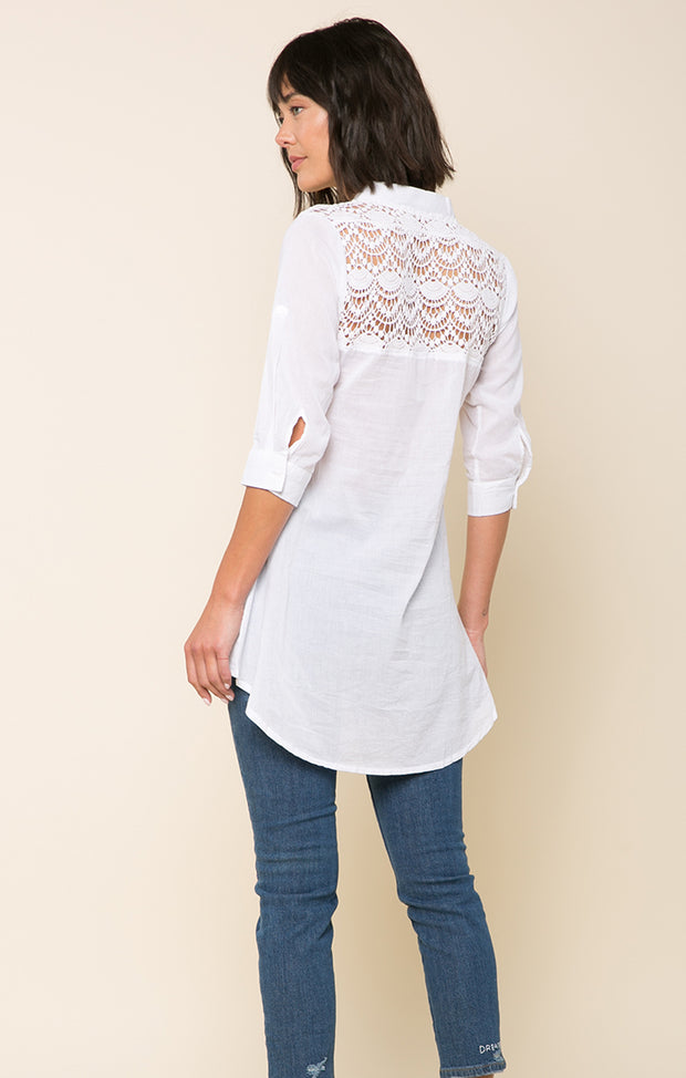 Hadlee Hi-Low Lace Back Blouse