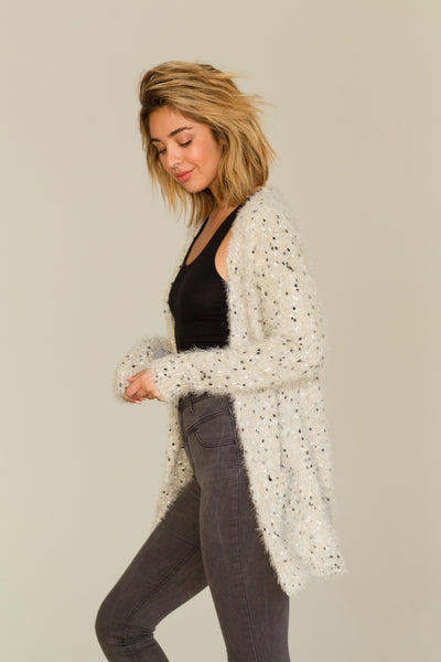 FUZZY CARDIGAN SWEATER