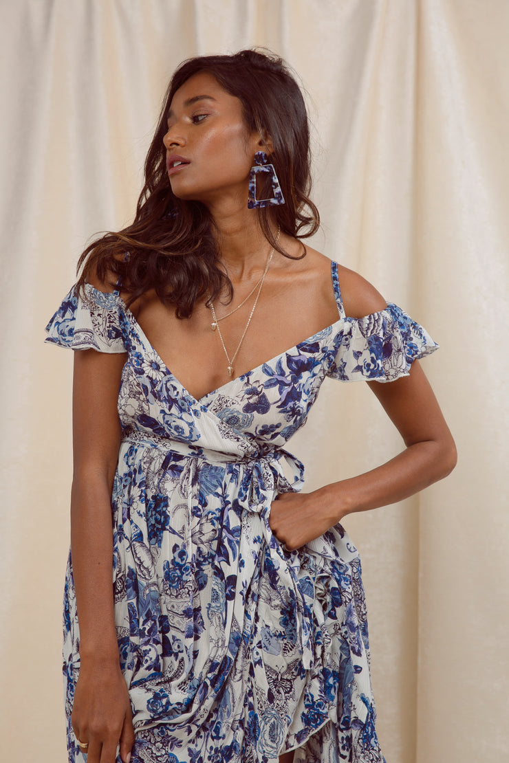 Meet In Capri Faux Wrap Dress