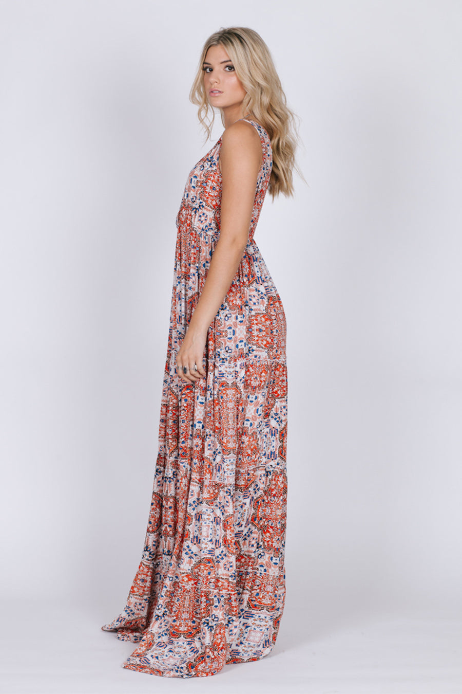 SUNSET GOLD SLEEVELESS MAXI DRESS