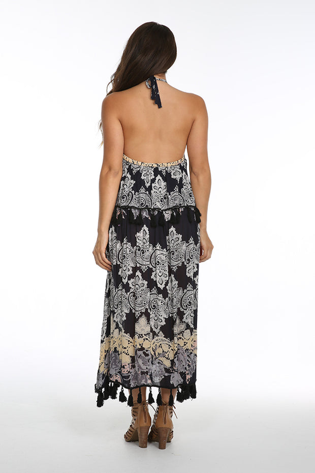 Vanessa Ruffle Halter Maxi Dress