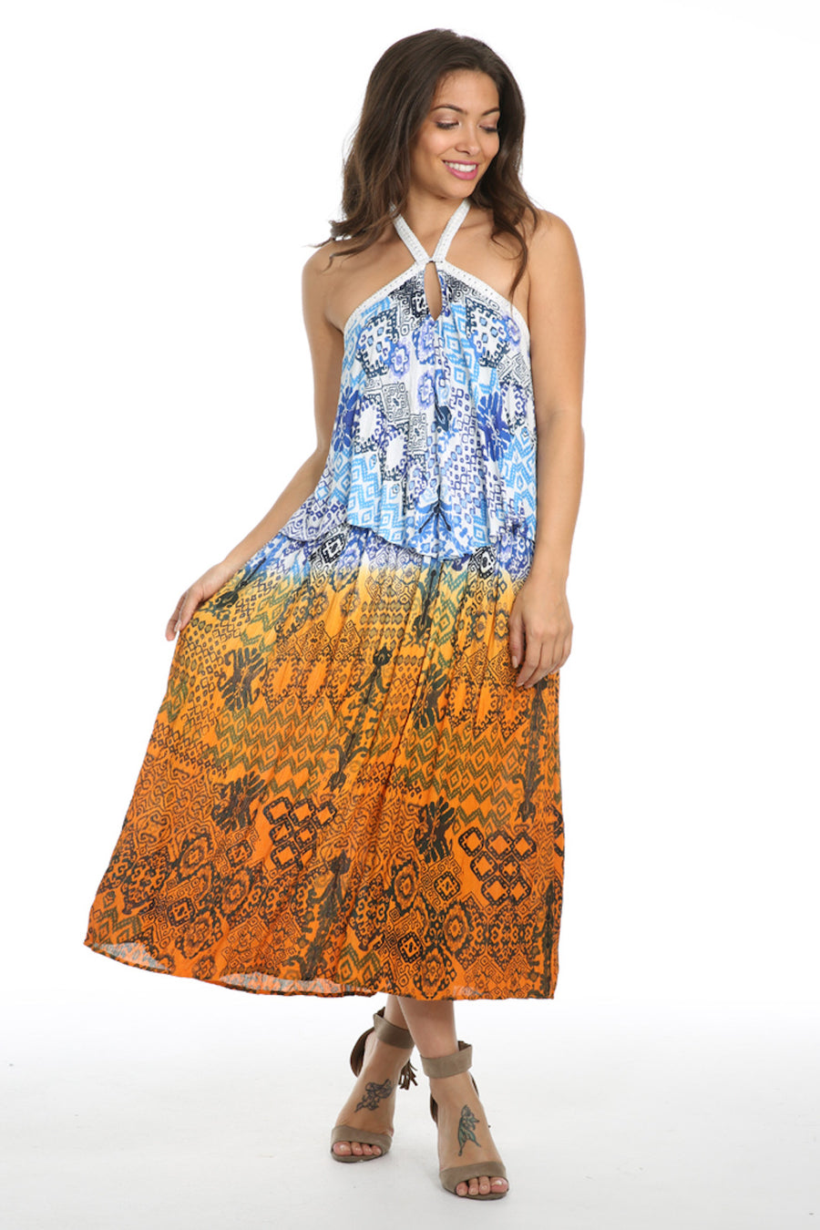 Until Sunrise Ruffle Halter Maxi Dress