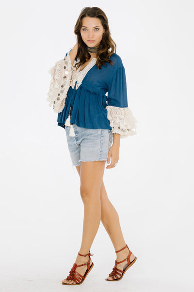 NAVY SUN GODDESS BLOUSE