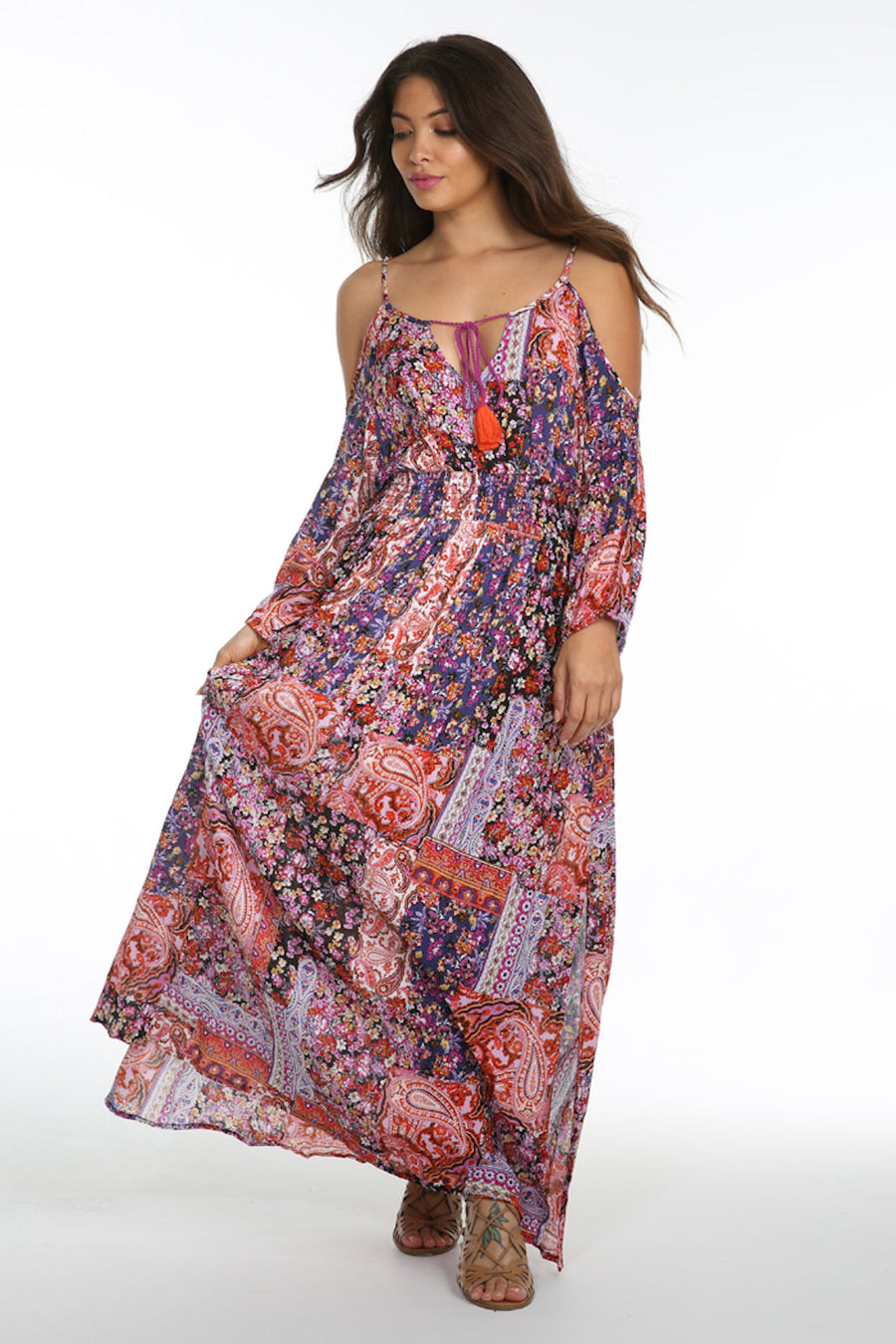 Sunset Vista Cold Shoulder Maxi Dress