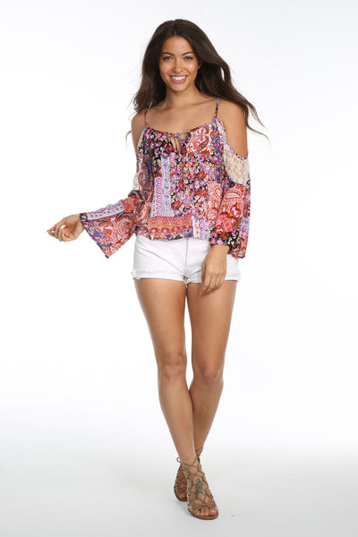 SUNSET VISTA COLD SHOULDER BLOUSE