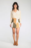 Becca Faux Suede Button Up Mini Skirt