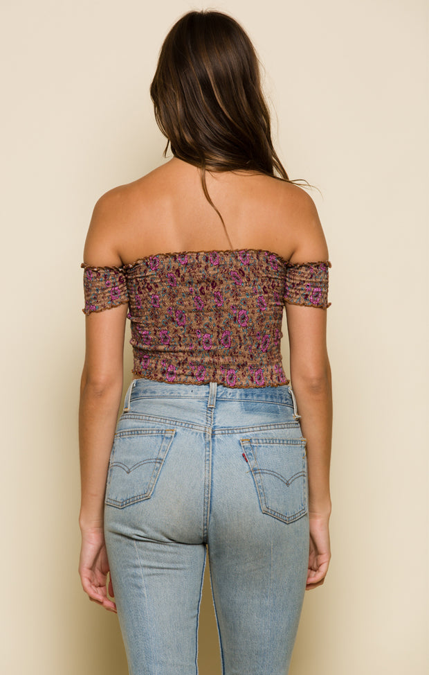 In Bloom Off-Shoulder Crop Top