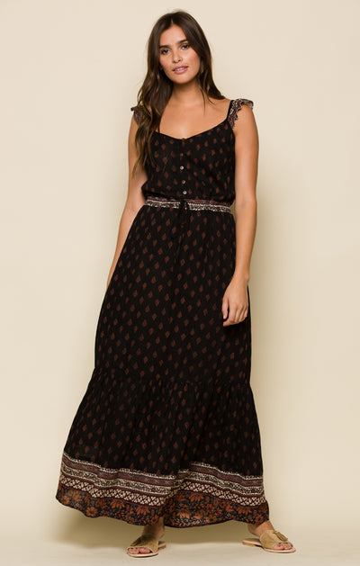 Nocturnal Daze Ruffle Sleeve Maxi Dress