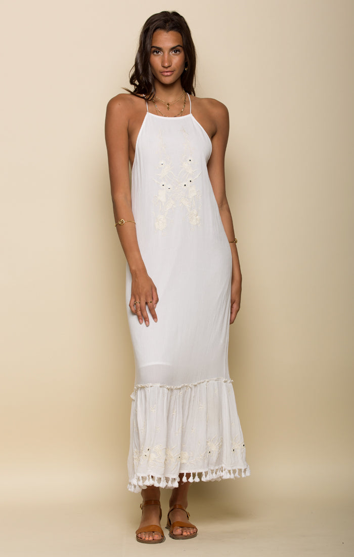 Salty Kiss Strappy Halter Maxi Dress