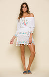 ASHLYN OFF SHOULDER TASSEL MINI DRESS