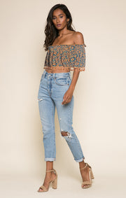 Bonfire Haze Tassel Crop Top
