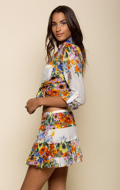 WATERCOLOR FIELDS TIERED MINI SKIRT