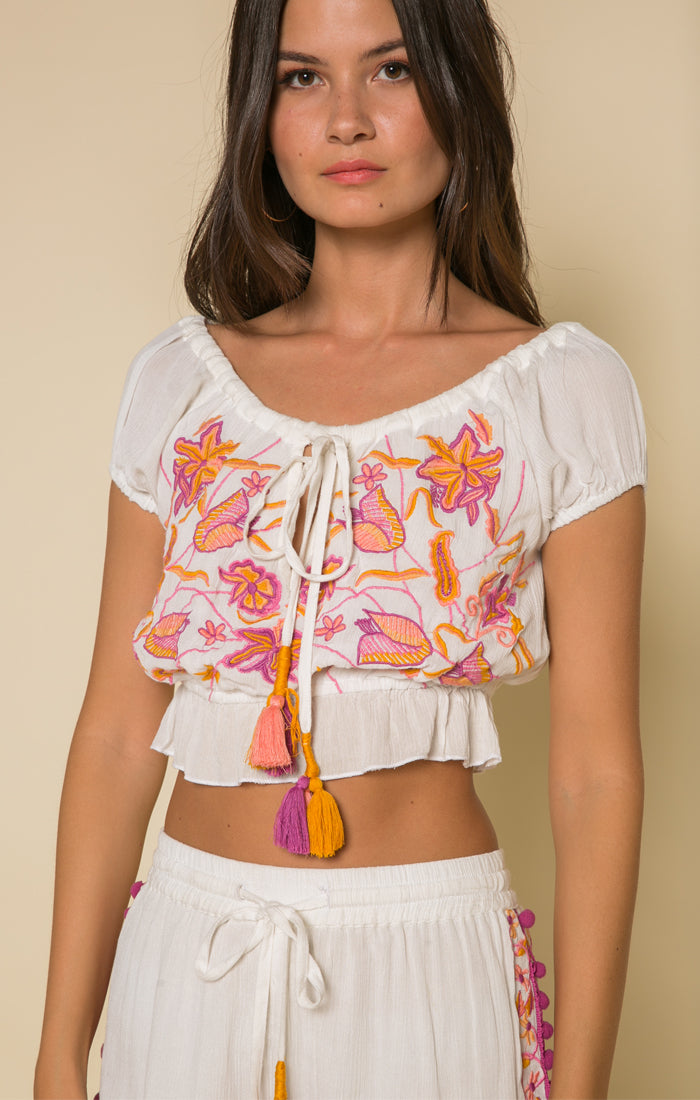 First Bloom Drawstring Crop Top