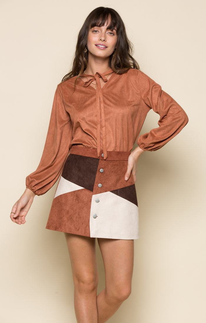 335ef2bb9 RILEY FAUX SUEDE BUTTON UP SKIRT - RAGA