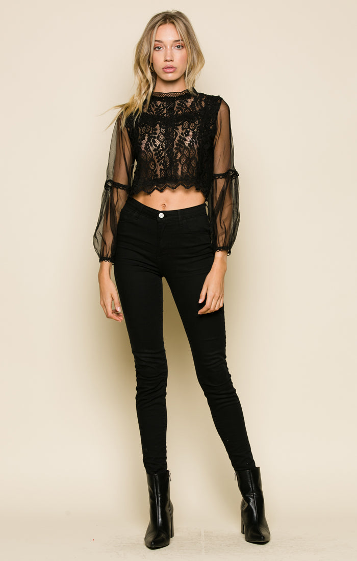 LANA LACE MOCK NECK TOP