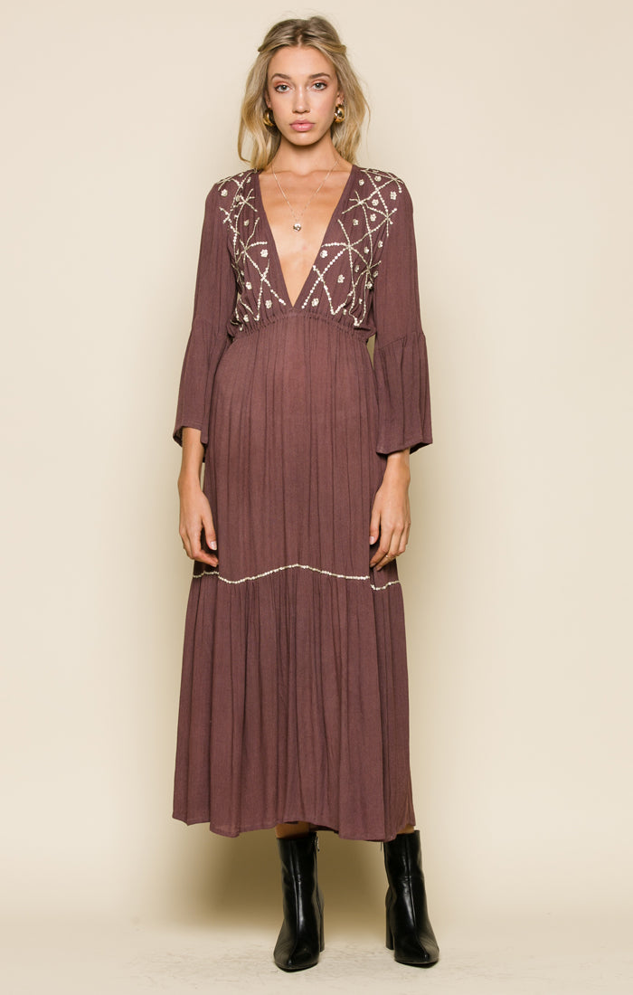 Moonlit Desert Plunging Maxi Dress