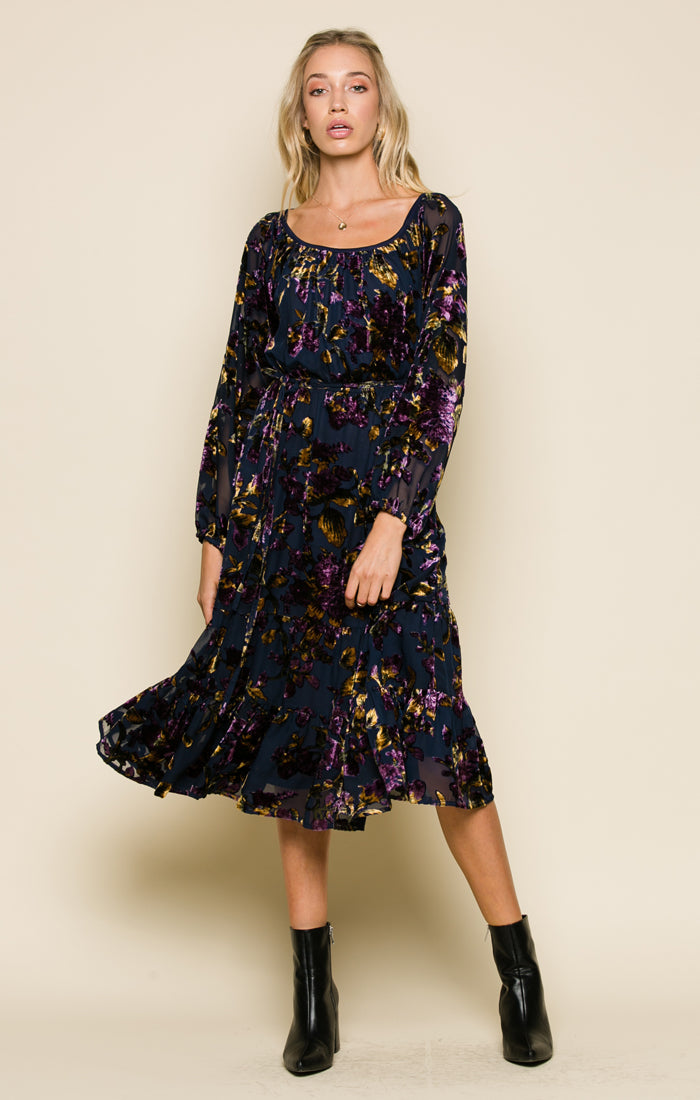 Viola Velvet Belted Midi Dress