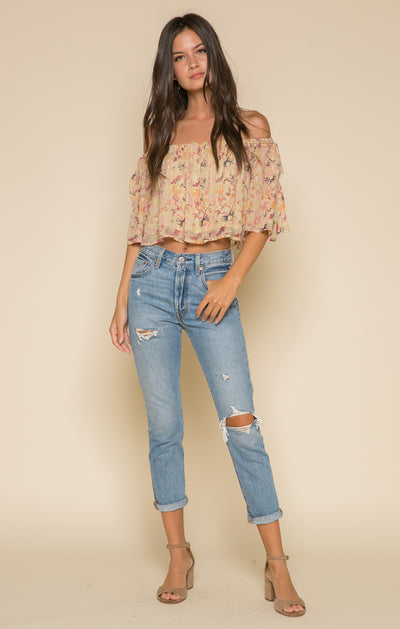 Norah Tie Shoulder Crop Top