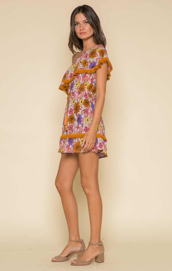 Wild Gardens One Shoulder Mini Dress