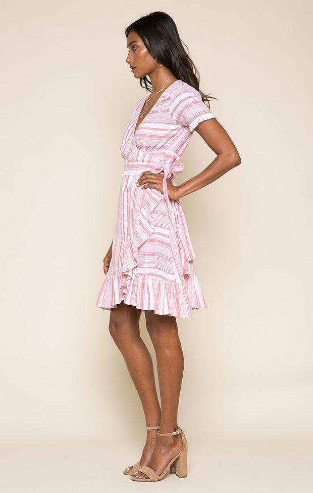 Candy Stripes Short Wrap Dress