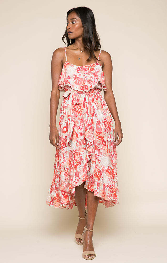 Late Bloom Ruffle Midi Dress