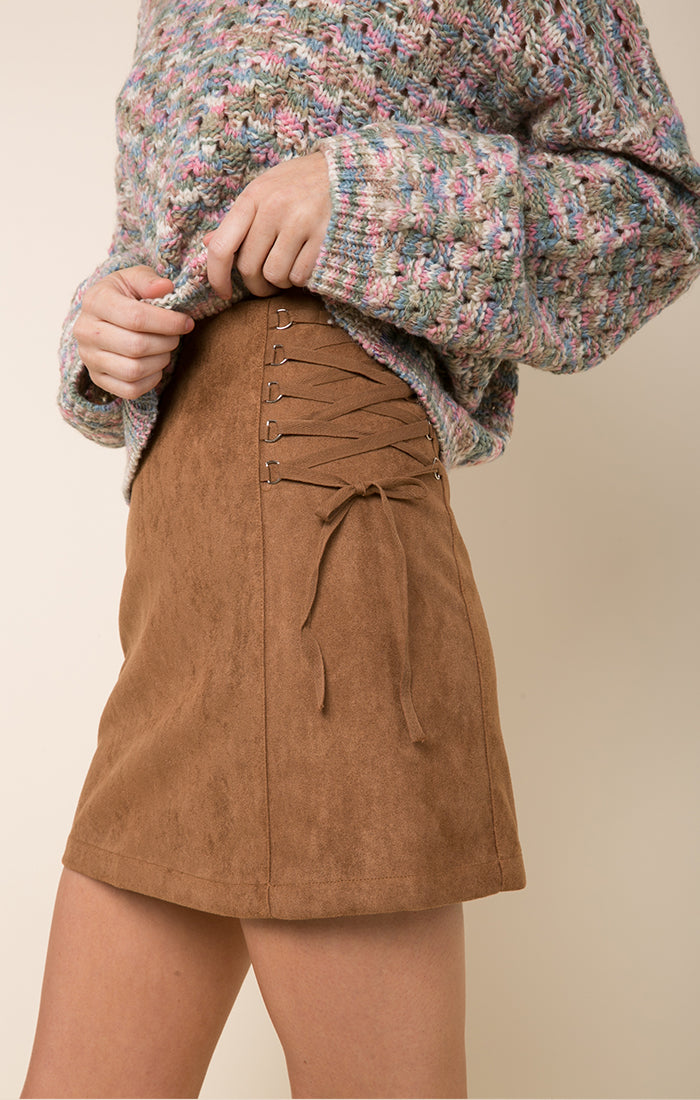 LACEY FAUX SUEDE SKIRT
