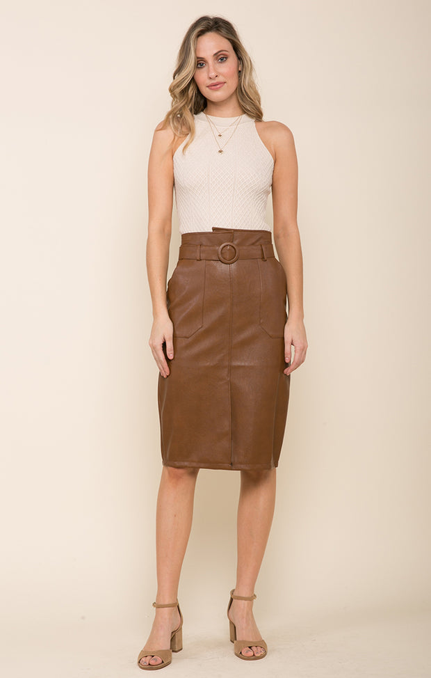 Rider Faux Leather Longline Skirt