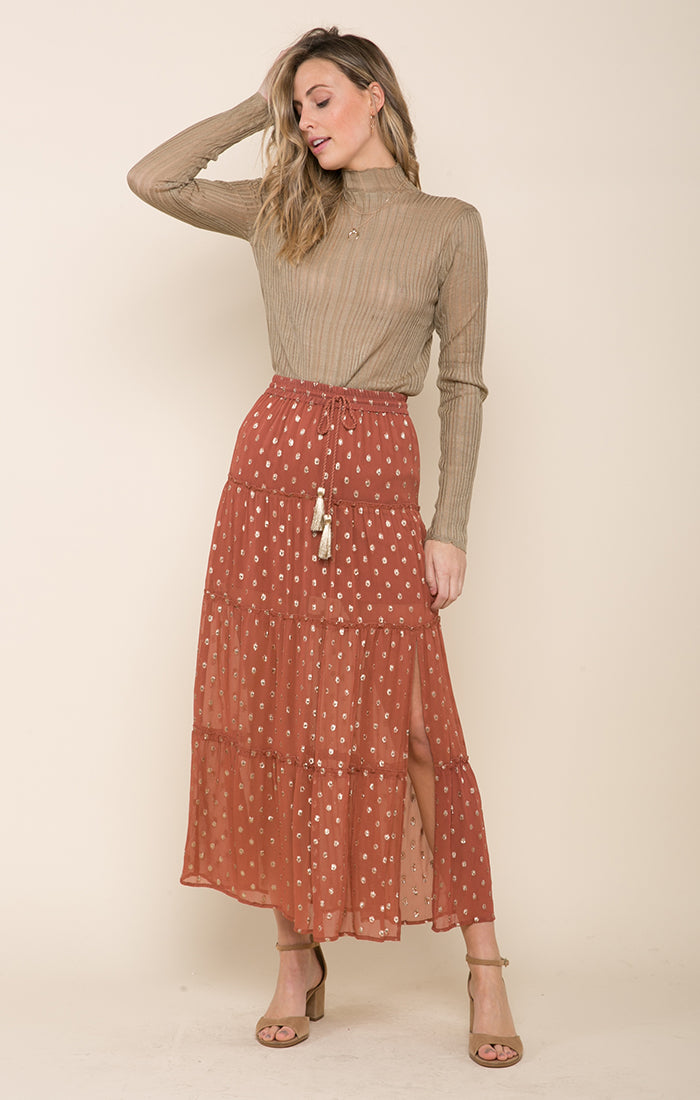 Elle Tiered Slit Skirt