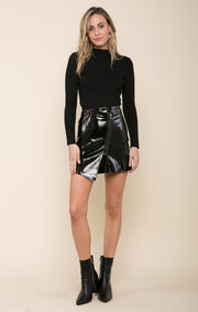 Sabrina Faux Patent Leather Skirt