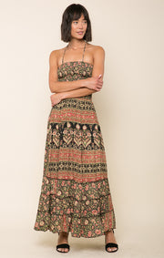 Wild Rose Trails Halter Maxi Dress