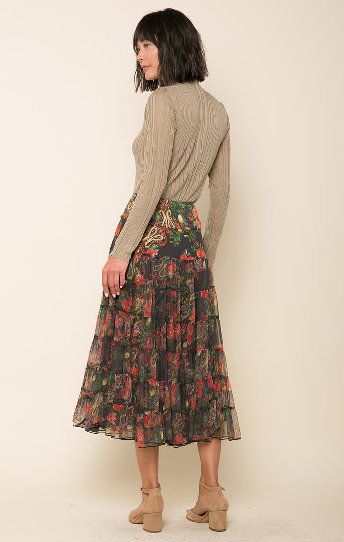 Crimson Love Tiered Skirt