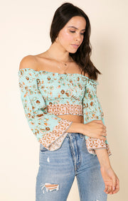 Botanic Kiss Off Shoulder Crop Top