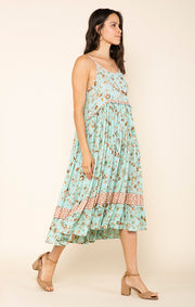 Botanic Kiss Sleeveless Midi Dress