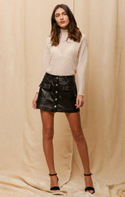 HARLEE FAUX LEATHER SKORT