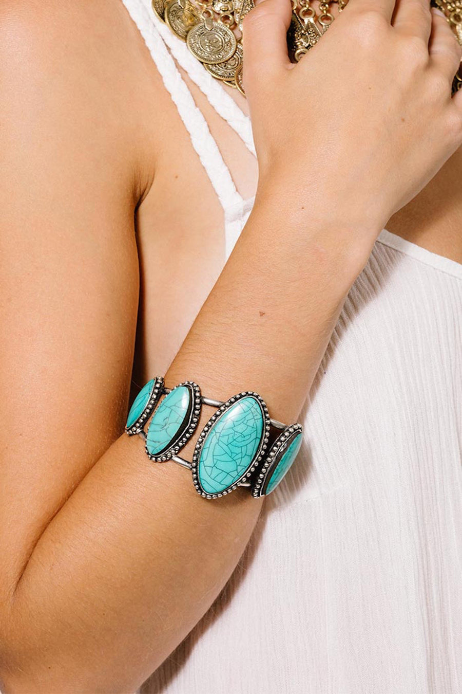 OPEN TURQUOISE STONE CUFF