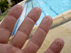 wrinkled fingers with pool